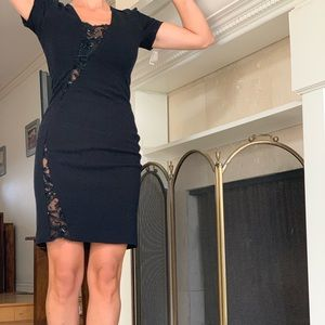 Emilio Pucci black cocktail dress with lace insert
